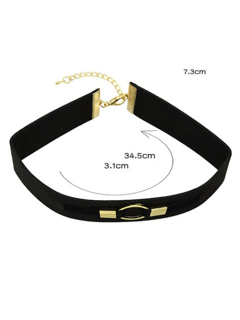 latest PU Leather Velvet Circle Choker Necklace -   Mobile