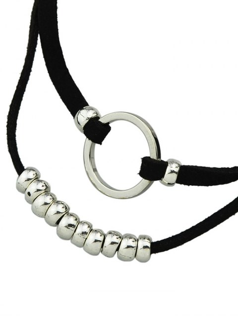 trendy Artificial Leather Velvet Circle Layered Choker - SILVER  Mobile