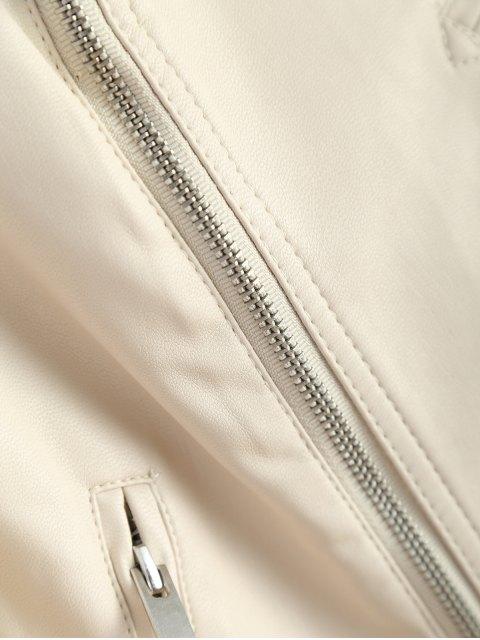 women Off Shoulder Zippered Biker Jacket - OFF-WHITE XL Mobile