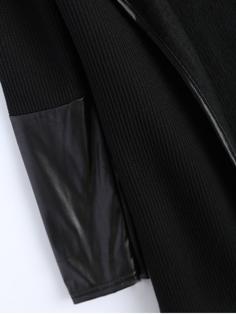 fancy PU Leather Insert Long Sleeve Cardigan - BLACK XL Mobile