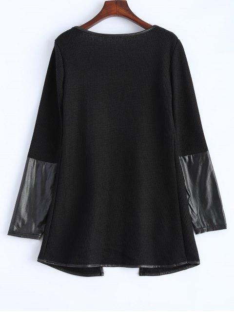 sale PU Leather Insert Long Sleeve Cardigan - BLACK M Mobile