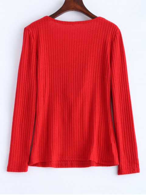best Ribbed Knit Lace Up Jumper - RED M Mobile