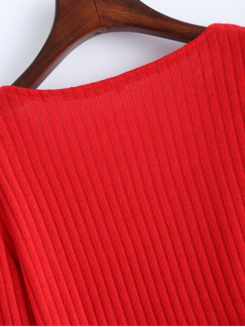 ladies Ribbed Knit Lace Up Jumper - RED XL Mobile