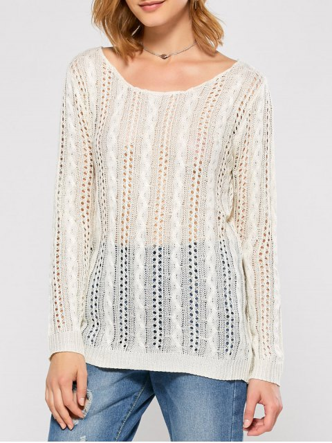 shops Heart Cutout Back Open Stitch Sweater - WHITE L Mobile