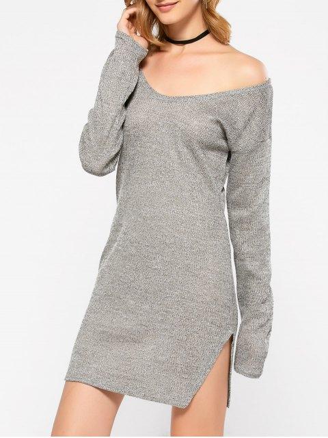 lady Side Slit V Neck Jumper Dress - GRAY M Mobile