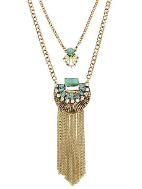 chic Artificial Turquoise Rhinestone Geometric Layered Necklace -   Mobile