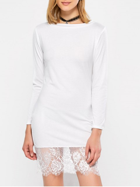 new Lace Spliced Slash Neck Dress - WHITE XL Mobile