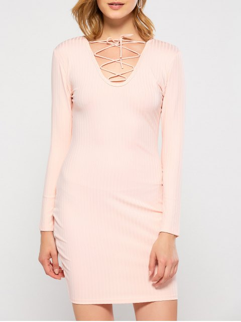 outfit Lace Up Plunging Neck Bodycon Party Dress - PINK M Mobile