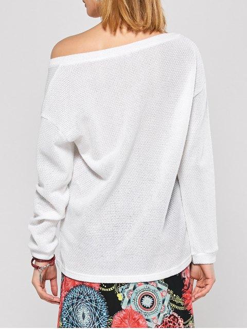 women Long Sleeve V Neck Jumper - WHITE XL Mobile