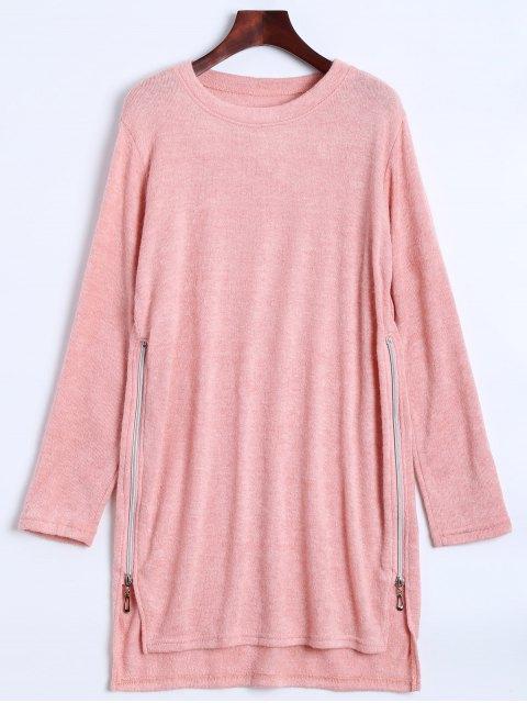 unique Side Zipper Sweater Dress - PINK M Mobile