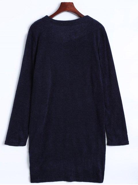 womens Side Zipper Sweater Dress - CADETBLUE M Mobile