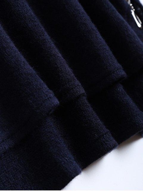 women Side Zipper Sweater Dress - CADETBLUE S Mobile