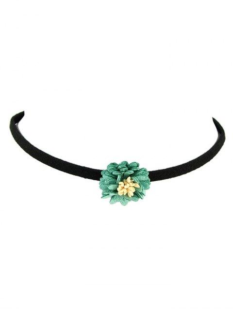 fancy Artificial Leather Flower Velvet Choker Necklace - GREEN  Mobile