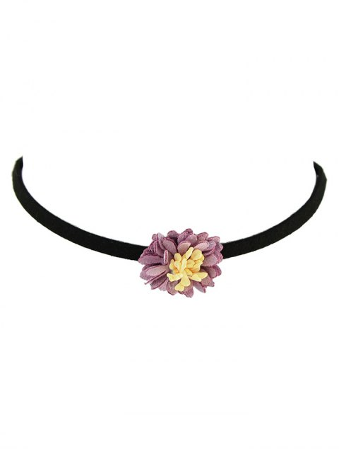 unique Artificial Leather Flower Velvet Choker Necklace - PURPLE  Mobile