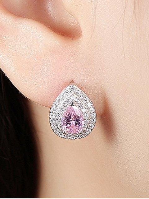 womens S925 Diamond Teardrop Earrings - PINK  Mobile