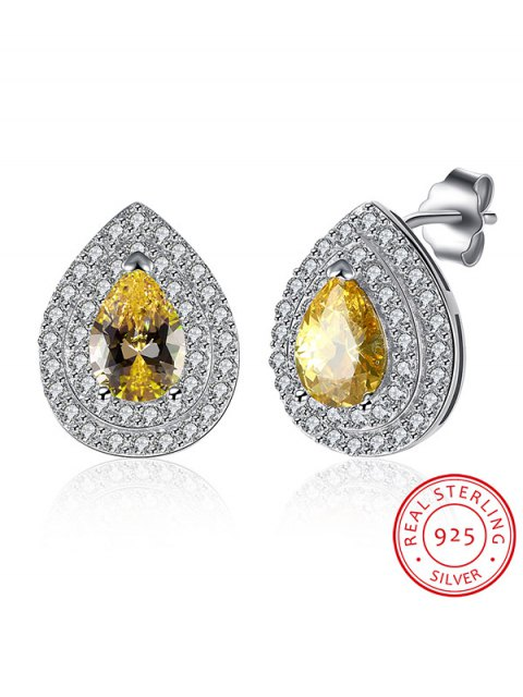 women Teardrop S925 Diamond Earrings - YELLOW  Mobile