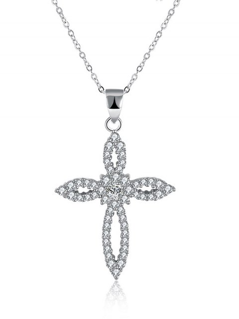 affordable Flower Crucifix S925 Diamond Necklace -   Mobile