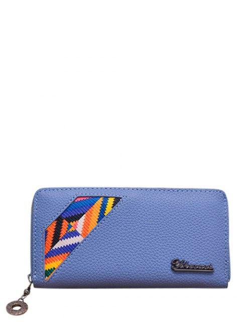 sale Geometric Pattern Textured Leather Colour Block Wallet - BLUE  Mobile