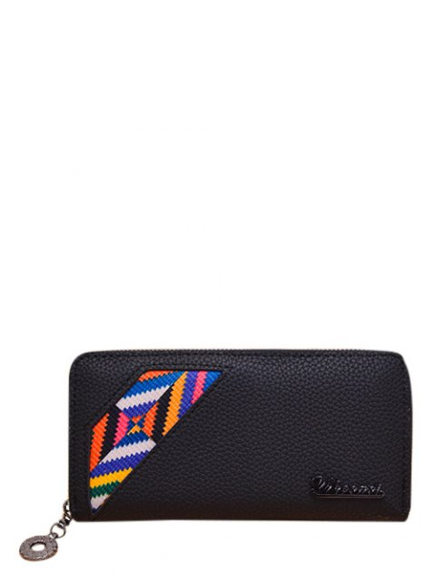 buy Geometric Pattern Textured Leather Colour Block Wallet - BLACK  Mobile