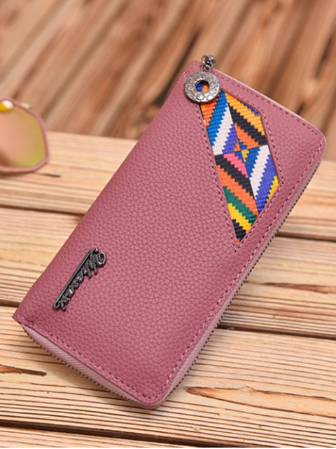 womens Geometric Pattern Textured Leather Colour Block Wallet - DEEP PINK  Mobile