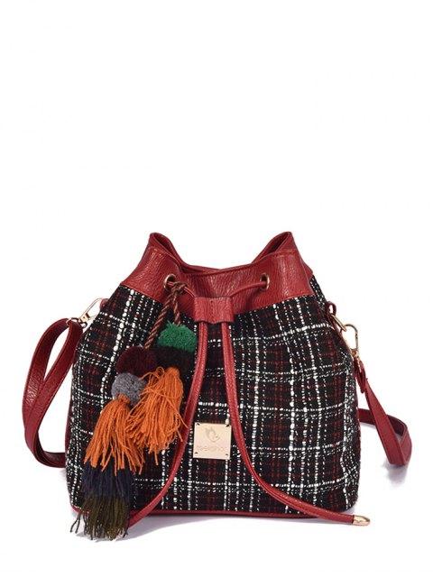 ladies Tweed Drawstring Plaid Pattern Crossbody Bag -   Mobile