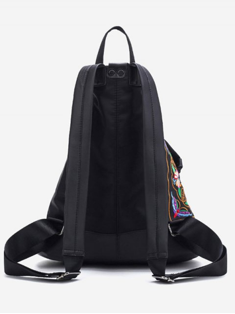 fashion Embroidery Flower Butterfly Pattern Backpack - BLACK  Mobile