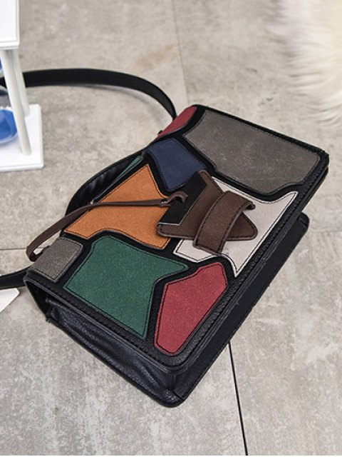outfits Colour Splicing Patchwork Square Shape Crossbody Bag - BLACK  Mobile