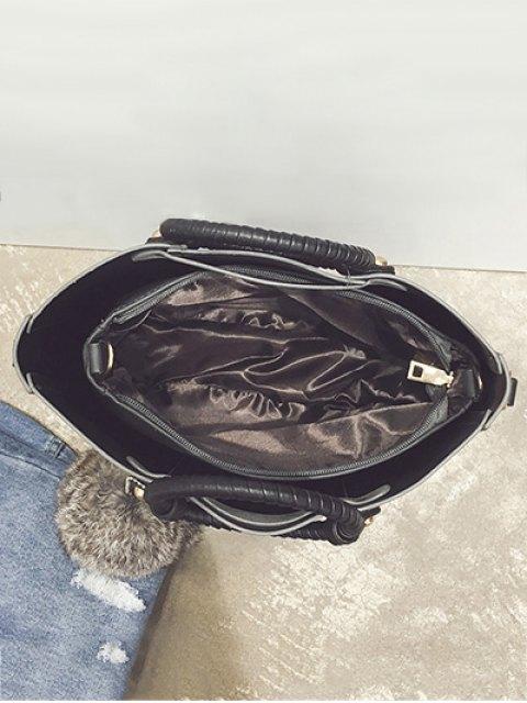 chic Pompon Metal PU Leather Tote Bag -   Mobile