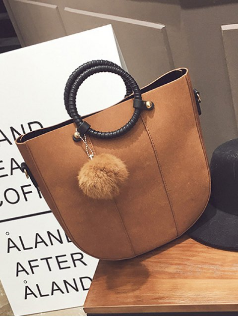 fancy Pompon Metal PU Leather Tote Bag -   Mobile