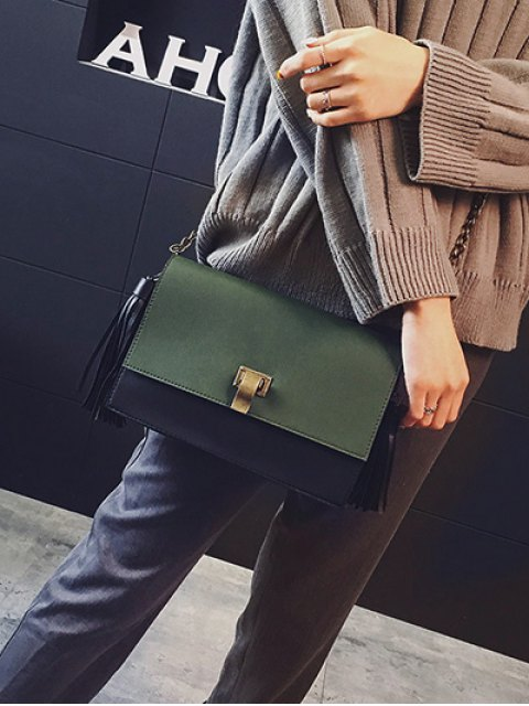 shops Chain Tassels Metal Crossbody Bag - ARMY GREEN  Mobile