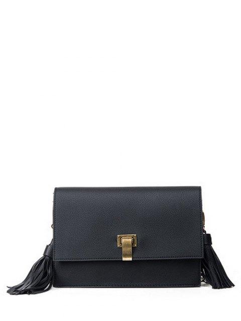 fashion Chain Tassels Metal Crossbody Bag - BLACK  Mobile