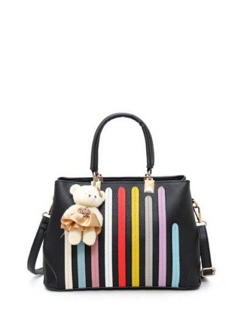 sale Striped Pattern Metal Colour Spliced Tote Bag - BLACK  Mobile