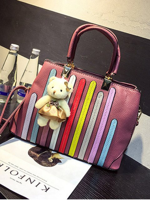 affordable Striped Pattern Metal Colour Spliced Tote Bag - PINK  Mobile