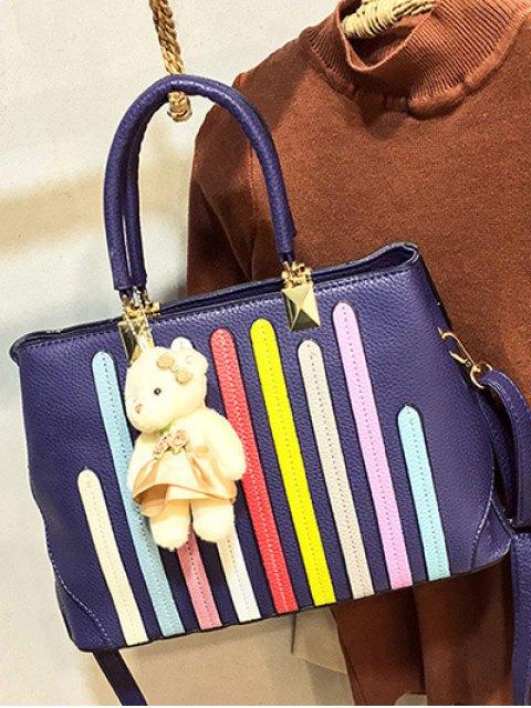 buy Striped Pattern Metal Colour Spliced Tote Bag - DEEP BLUE  Mobile