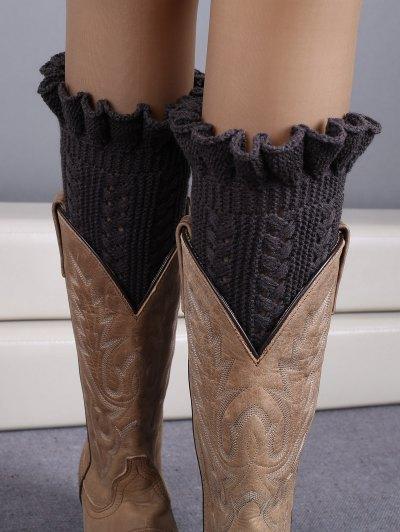Ruffled Knit Boot Cuffs - DEEP GRAY  Mobile