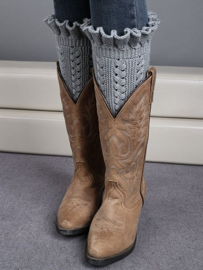 Ruffled Knit Boot Cuffs - LIGHT GRAY  Mobile