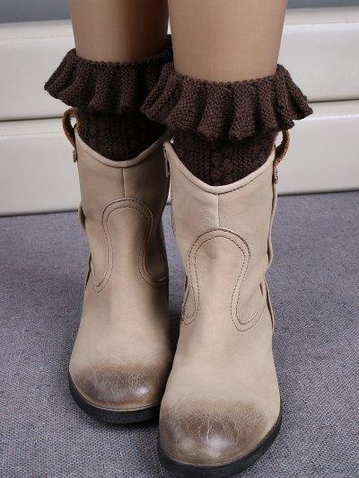 Ruffled Knit Boot Cuffs - ESPRESSO  Mobile