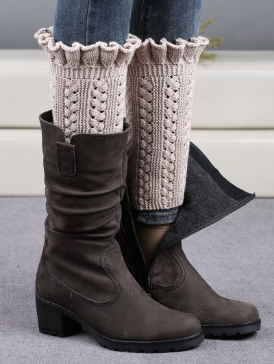 Ruffled Knit Boot Cuffs - BEIGE  Mobile