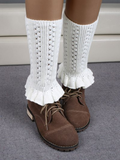 Ruffled Knit Boot Cuffs - WHITE  Mobile