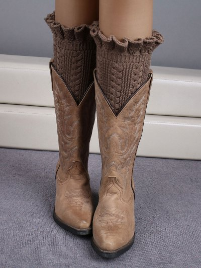 Ruffled Knit Boot Cuffs - KHAKI  Mobile
