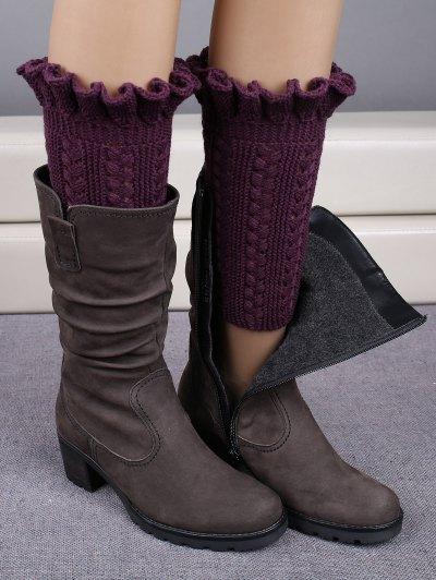 Ruffled Knit Boot Cuffs - DEEP PURPLE  Mobile