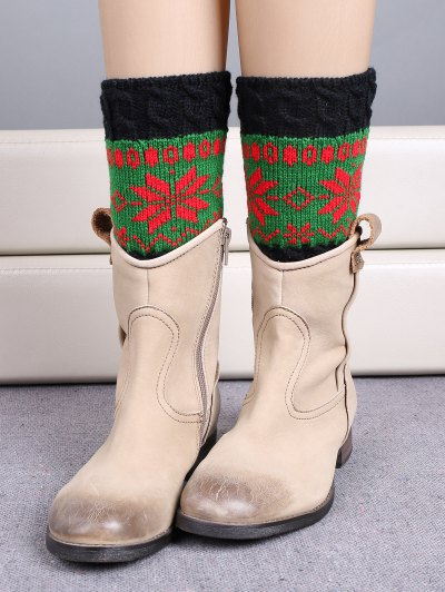 Christmas Snowflake Boot Cuffs - GREEN  Mobile