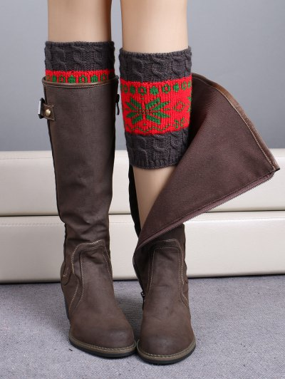 Christmas Snowflake Boot Cuffs - RED  Mobile