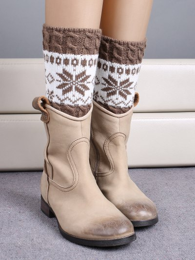 Christmas Snowflake Boot Cuffs - KHAKI  Mobile
