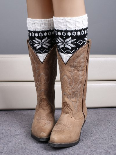 Christmas Snowflake Boot Cuffs - WHITE  Mobile
