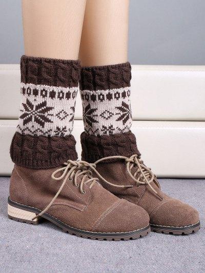 Christmas Snowflake Boot Cuffs - ESPRESSO  Mobile