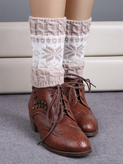 Christmas Snowflake Boot Cuffs - BEIGE  Mobile