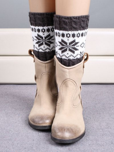 Christmas Snowflake Boot Cuffs - DEEP GRAY  Mobile