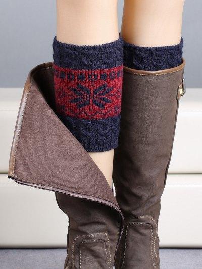 Christmas Snowflake Boot Cuffs - PURPLISH BLUE  Mobile