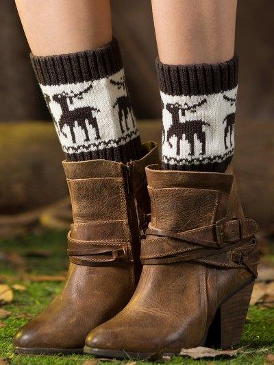 Christmas Deer Boot Cuffs - DEEP GRAY  Mobile